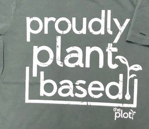 'Proudly Plant Based' distressed tee by The Plot Retail