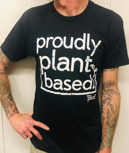 'Proudly Plant Based' basic black tee by The Plot Retail