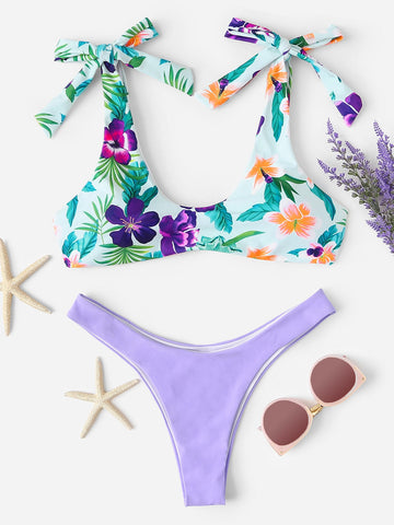 Laura High Cut Floral Print Bikini