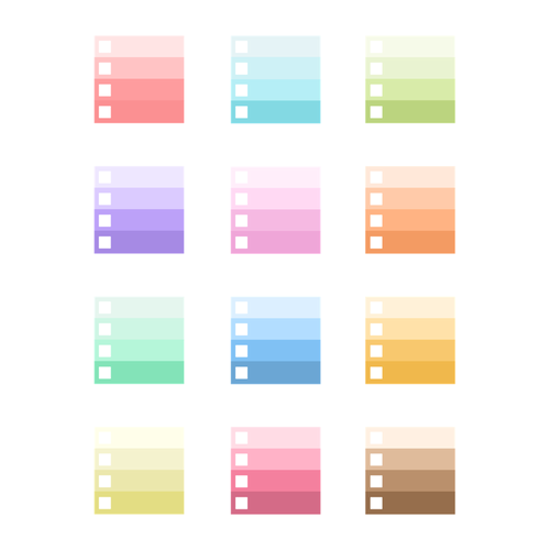Graduated Color Planner Stickers w/ Checkbox