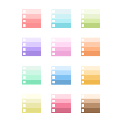 Graduated Color Planner Stickers w/ Checkbox - Large Size