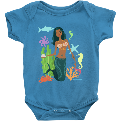 Black Mermaid Baby Onesie