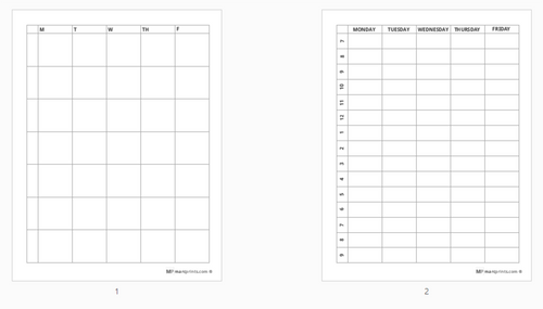 Free 5 Day a Week School Planner Worksheet Pages (pdf download)