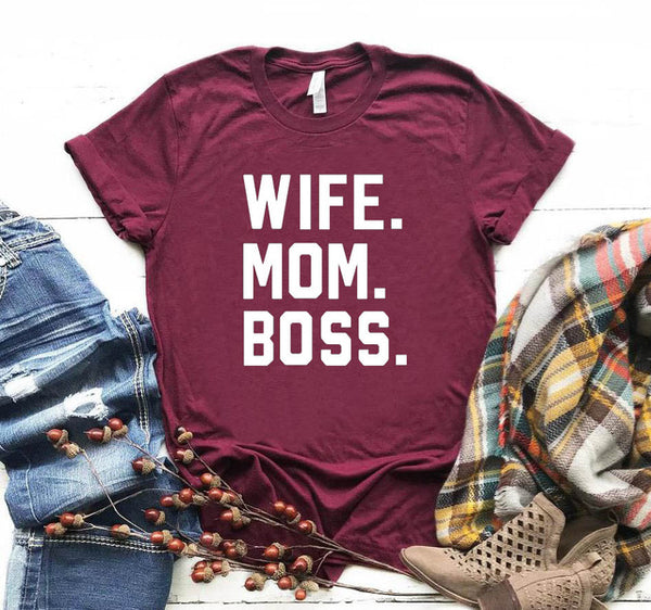 WIFE MOM BOSS HEART T SHIRT 👩