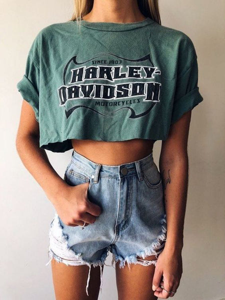 sexy letters printed short sleeves round neck short t-shirt
