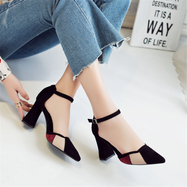 Pointed color matching buckle with high heels