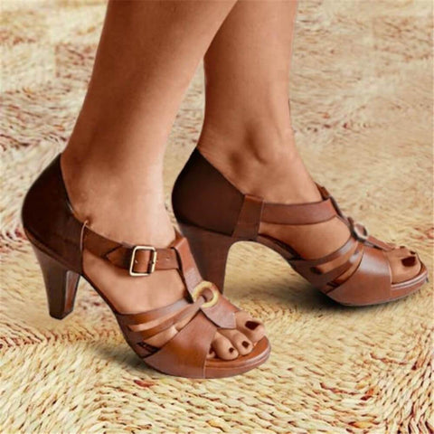 Fashion Versatile Buckle High Heel Sandals