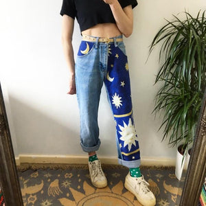 Women's fashion sun moon print pants RS001