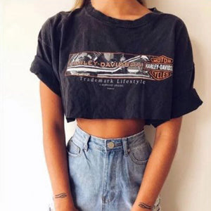 sexy round neck printed short sleeves navel short t-shirt