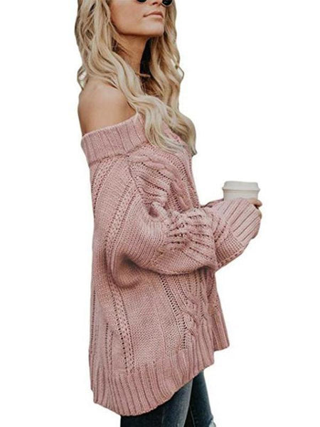 Sexy Off Shoulder Long Sleeve Knitting Sweater
