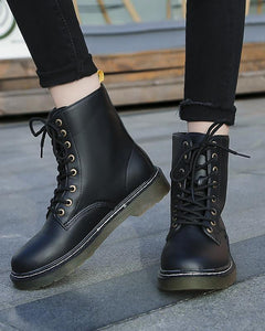 Women's fashion solid color lace Martin boots