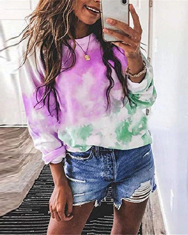 Women's Fashion Round Neck Print Long-Sleeved T-Shirt