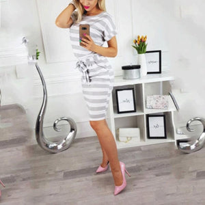 Fashion Round Collar Stripe Shift Dress