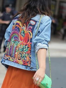 Fashion Printed Colour Long Sleeve Short Denim Jacket