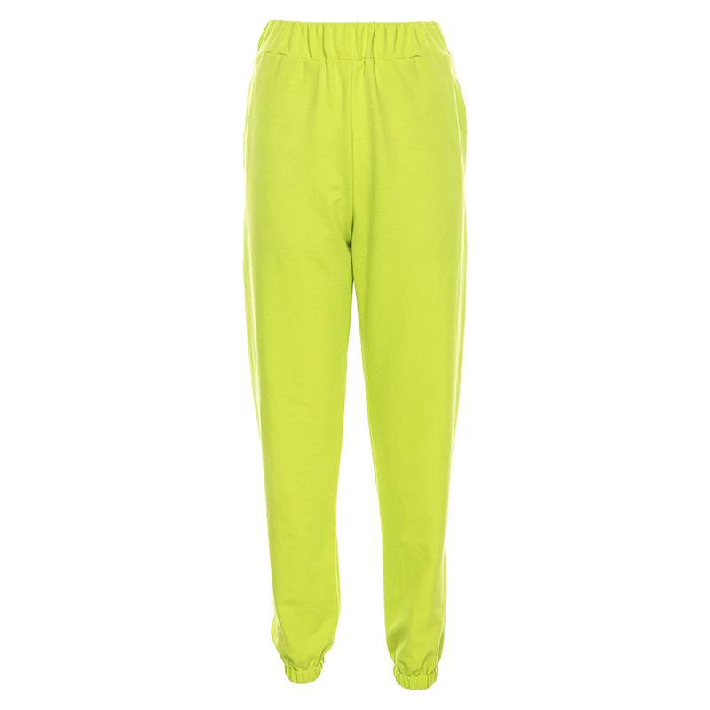 Solid Color Letter Printed High Waist Beam Foot Casual Pants