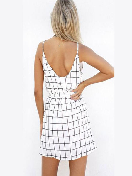 Spaghetti Strap  Belt  Gingham  Sleeveless Casual Dresses