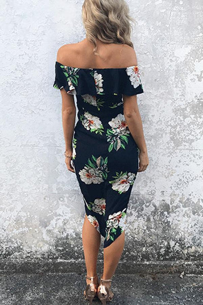 Open Shoulder Asymmetric Hem Floral Bodycon Dresses