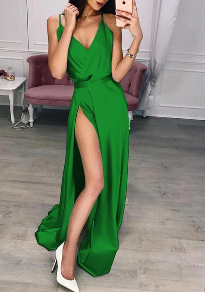 Solid Color Split Long Skirt Evening Dress
