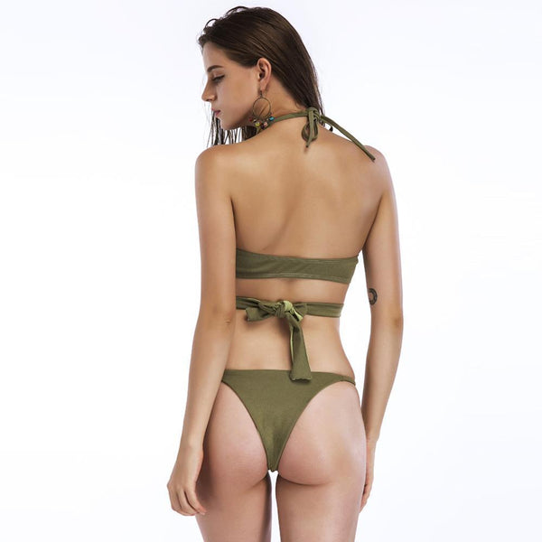 Cross Split Bikini Swimsuit