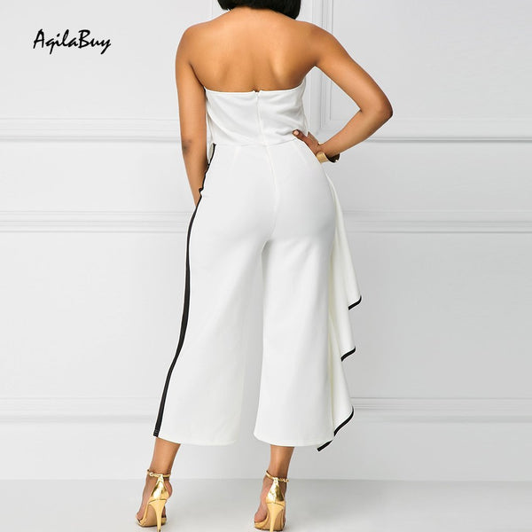 Sexy Strapless Collar Sleeveless Lotus Leaf Jumpsuit