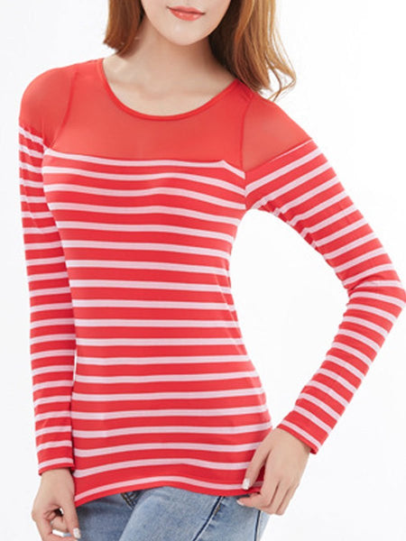 Round Neck  Patchwork See-Through  Striped Long Sleeve T-Shirts