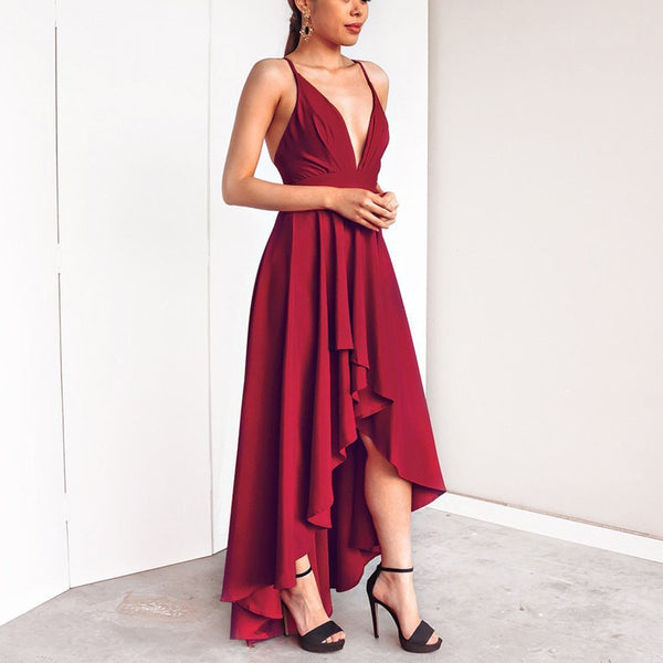 Sexy Elegant Pure Color Sleeveless Maxi Dress