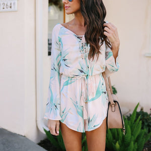 Neckline With Long-Sleeved Loose-Fitting Printed Playsuit