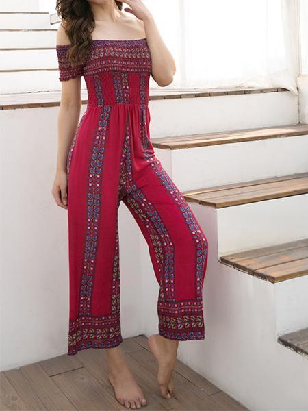 Women's New Printing Casual Word Shoulder Jumpsuit