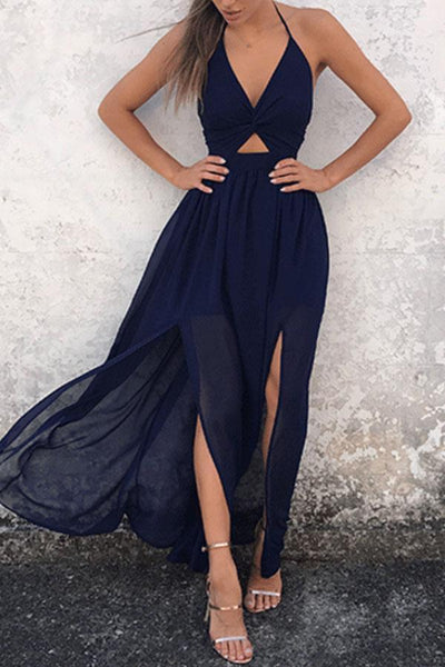 Halter  Backless High Slit  Plain  Sleeveless Maxi Dresses