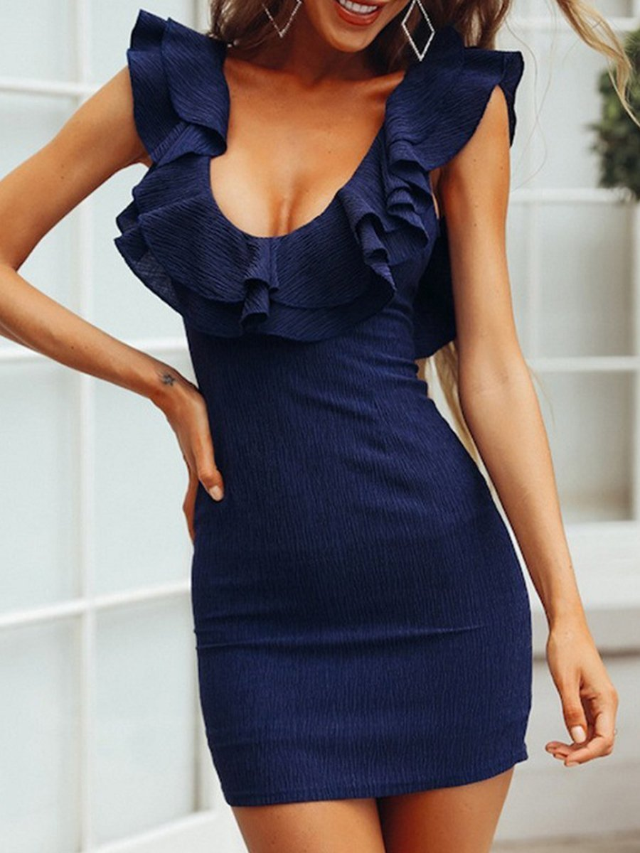 Scoop Neck  Flounce  Plain Bodycon Dress