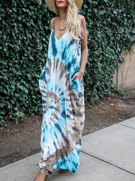 Spaghetti Strap  Patch Pocket  Tie Dye Maxi Dress
