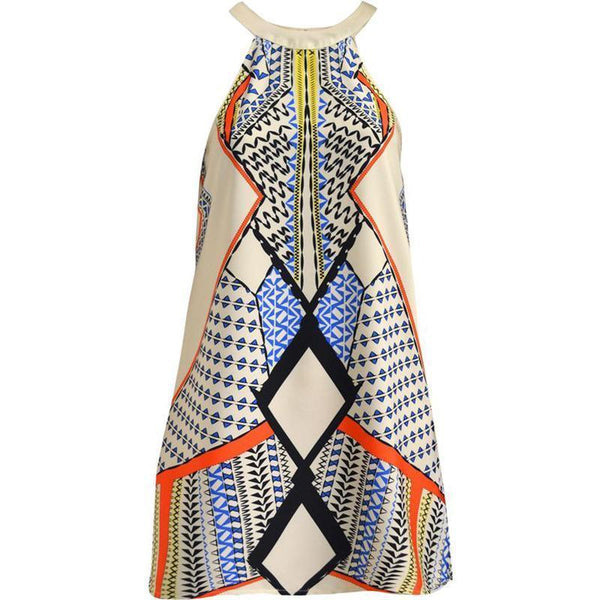 Round Neck Sleeveless Printed Casual Dress
