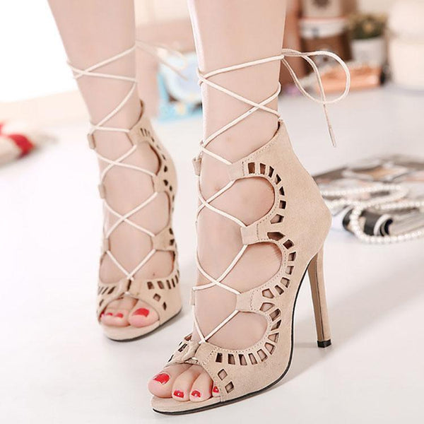 Fashion Pure Color Hollow Winding Slim Heels Sandals
