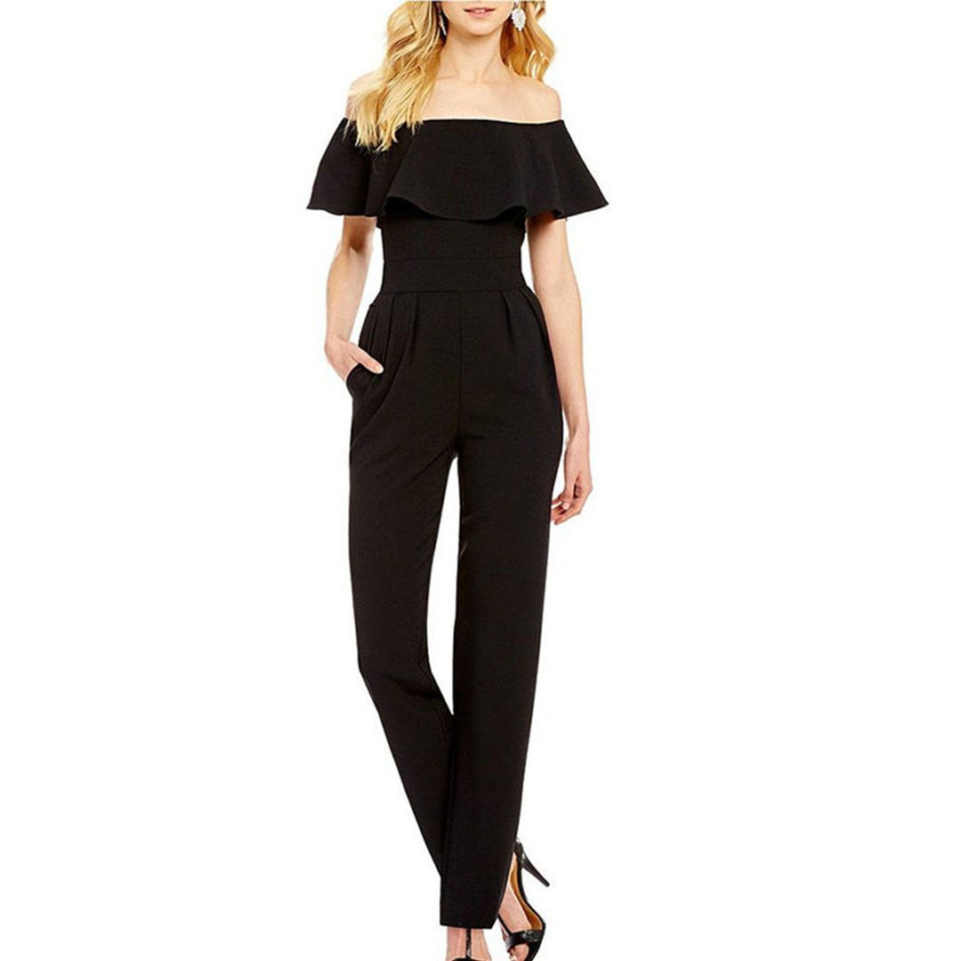Off Shoulder Short Sleeve With Pocket Jumpsuit