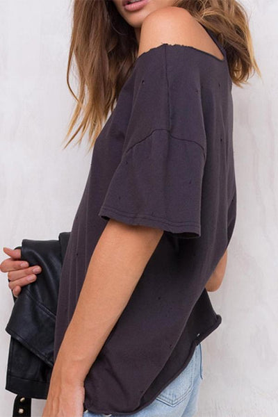 Round Neck Off Shoulder Casual T-Shirt