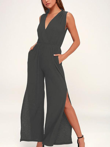 Side Vents With Wide Legs V-Neck Backless Jumpsuits