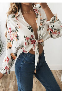 Sexy Deep V Collar Floral Printed Shirt