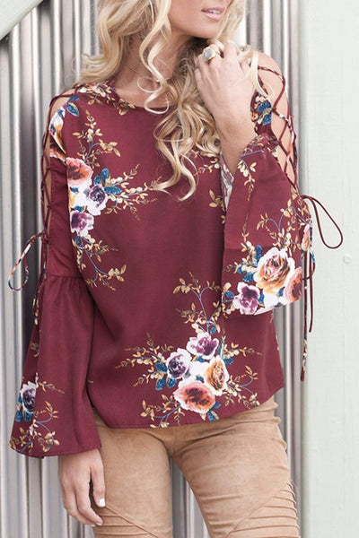 Sexy Sleeve Lace Up Floral Print Blouses