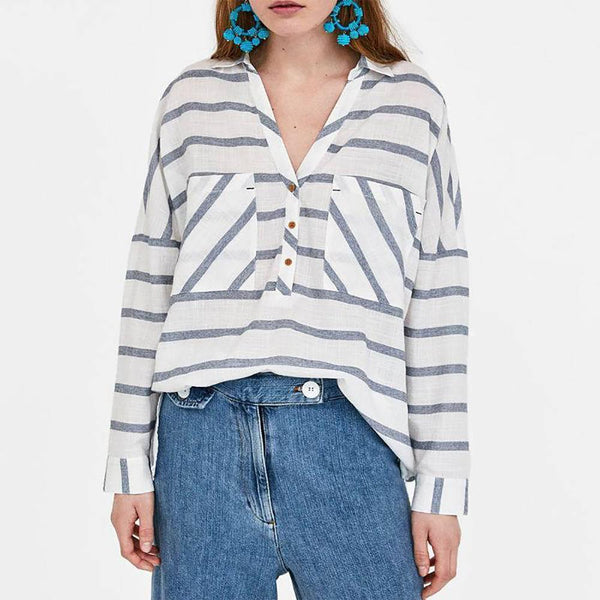 Rural Style Strip Leisure Long Blouse