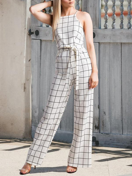 Plaid Sleeveless Sling Backless Strap Straight Wide Leg Jumpsuit