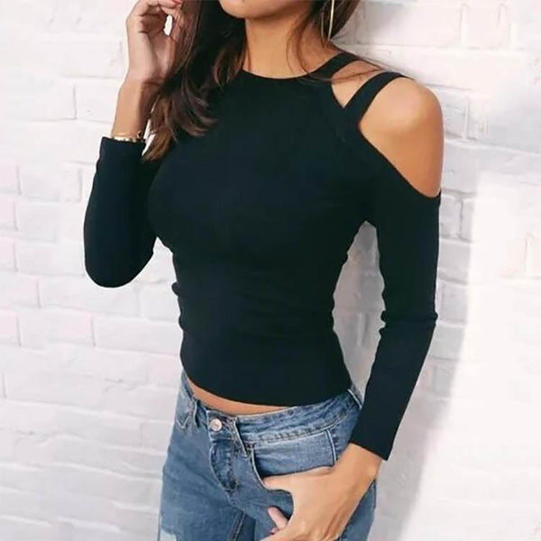 Strap Long Sleeves Leaking Shoulder T-Shirt