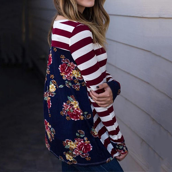 Long Sleeve Striped Print Stitching Top