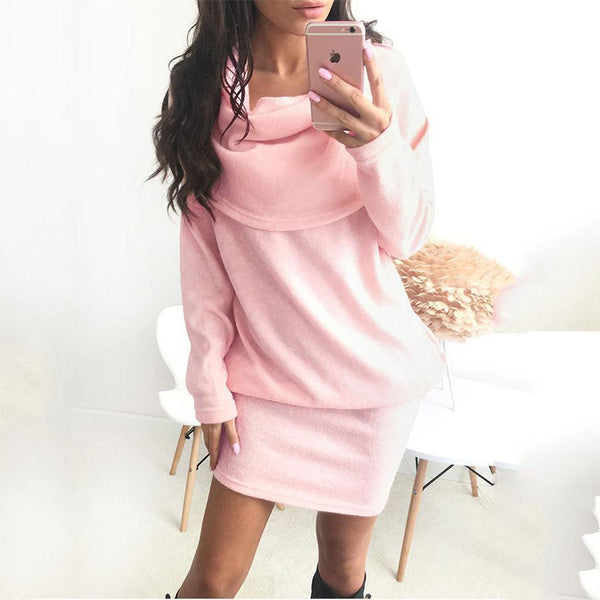 Fashion Pure Color Lapel Sweater Dress