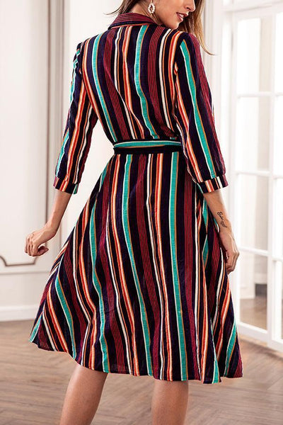 Fashion Stripe Print Casual Vintage Dresses
