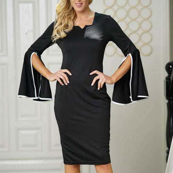 Square Collar Ruffled Sleeve  Bodycon Dress