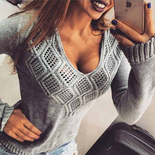 V-Neck Casual Hollow Pullover Sweater