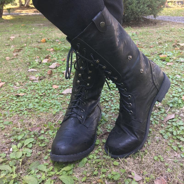 Lace-Up Tube Women's Boots