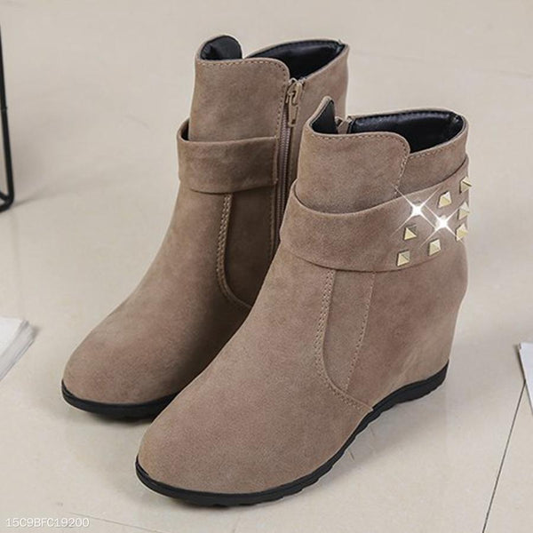 Plain  Invisible  High Heeled  Velvet  Round Toe  Casual Date High Heels Boots