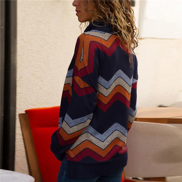 Leisure Geometric Pattern Long-Sleeved Sweater
