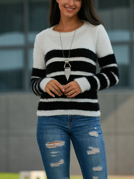 Long-Sleeved Striped Sweater